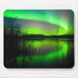 Northern lights mirrored on lake mouse pads