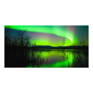 Northern lights mirrored on lake customized photo card