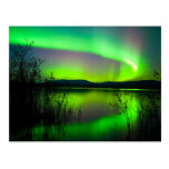 Northern lights mirrored on lake postcard