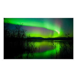 Northern lights mirrored on lake posters