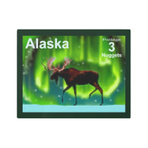 Northern Lights Moose - Alaska Postage Metal Print