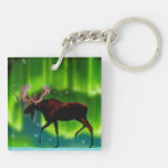 Northern Lights Moose Double-Sided Square Acrylic Keychain