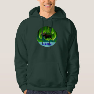 Northern Lights Moose Hooded Pullover