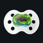 """Northern Lights Moose Pacifier<br><div class=""""desc"""">An ever so slightly stylized image of a moose silhouetted against the Northern Lights.</div>"""