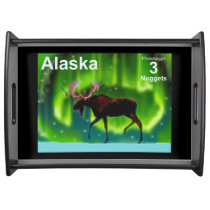 Northern Lights Moose Serving Tray