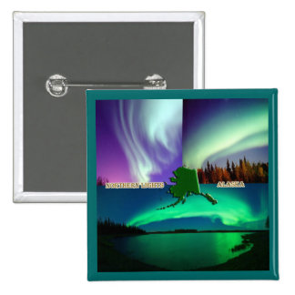 Northern Lights of Alaska Collage Button