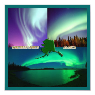 "Northern Lights of Alaska Collage 5.25"" Square Invitation Card"