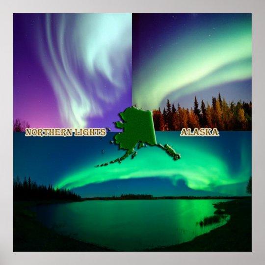 Northern Lights of Alaska Collage Poster