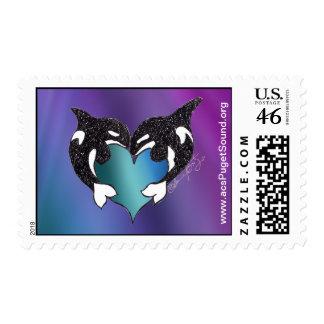 Northern Lights Orca Love Postage Stamp
