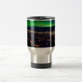 Northern Lights over Downtown Whitehorse Travel Mug