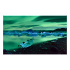 Northern Lights over Jokulsarlon lake, Iceland Poster