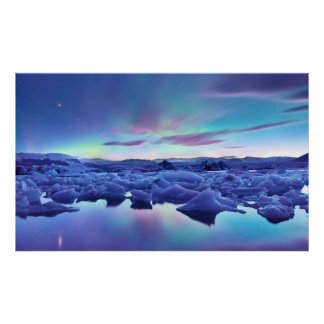 Northern Lights over Jokulsarlon lake, Iceland Print