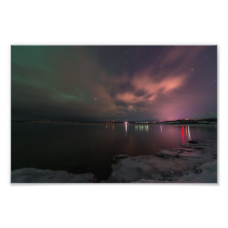 Northern lights over Lake Tornetrask, Abisko Photo Print