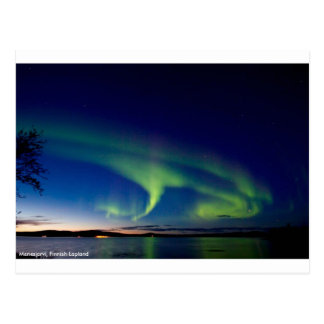 Northern Lights Over Menesjarvi, Finland-Postcard Postcard