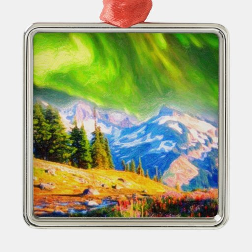 Northern Lights over mountains Metal Ornament