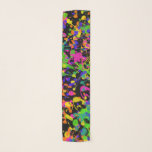 """Northern Lights Paint Splatters Scarf<br><div class=""""desc"""">Bold paint splatters in hot pink,  yellow,  orange,  lime green,  teal and blue violet dance on a black background,  making this scarf a fun addition to your wardrobe.</div>"""