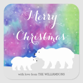 Northern Lights Personalized Holiday Stickers