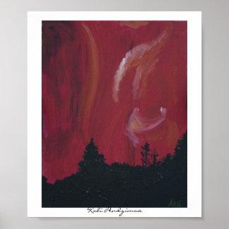 Northern Lights- Red, Kali Pendzimas Poster