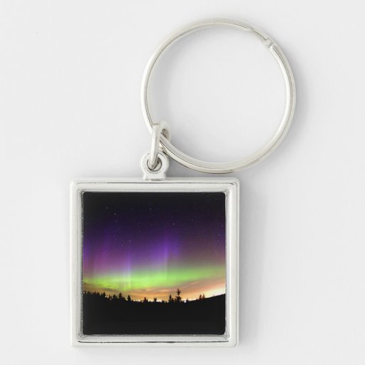 Northern Lights Silver-Colored Square Keychain