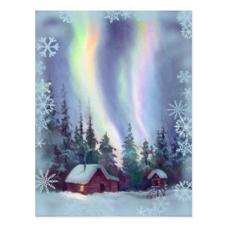 NORTHERN LIGHTS SNOWFLAKES by SHARON SHARPE Postcards