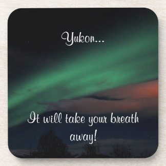 Northern Lights Starry Sky; Yukon Souvenir Drink Coaster