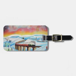 Northern lights train landscape painting bag tag