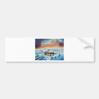 Northern lights train landscape painting bumper sticker