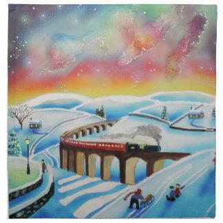 Northern lights train landscape painting cloth napkin