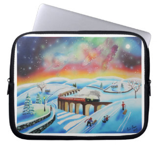 Northern lights train landscape painting computer sleeve
