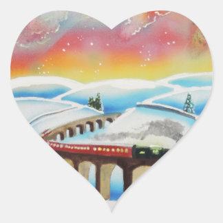 Northern lights train landscape painting heart sticker
