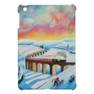 Northern lights train landscape painting iPad mini covers