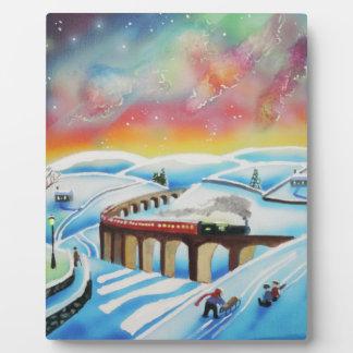 Northern lights train landscape painting plaque