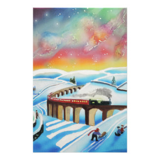 Northern lights train landscape painting stationery