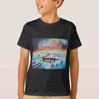 Northern lights train landscape painting T-Shirt