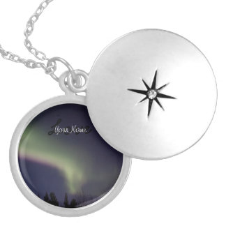 Northern Lights with a Streak of Purple; Custom Silver Plated Necklace