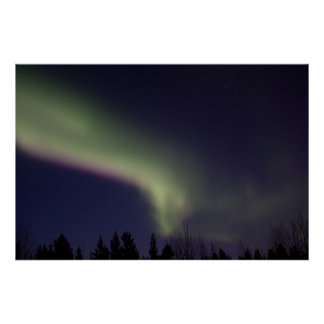 Northern Lights with a Streak of Purple Poster