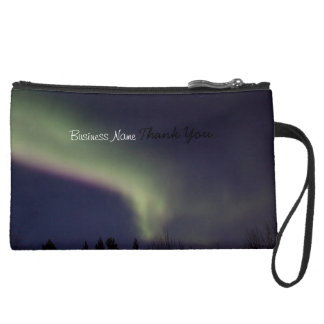 Northern Lights with a Streak of Purple; Promo Suede Wristlet Wallet