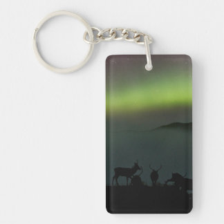 Northern Lights with Stags Keychain/Keyring Keychain