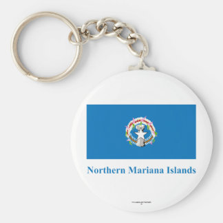 Northern Mariana Islands Flag with Name Basic Round Button Keychain