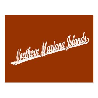 Northern Mariana Islands script logo in white dist Postcard