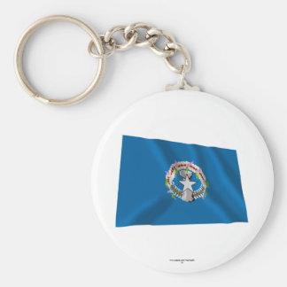 Northern Mariana Islands Waving Flag Basic Round Button Keychain