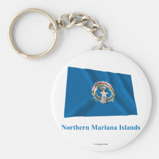 Northern Mariana Islands Waving Flag with Name Basic Round Button Keychain