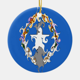 Northern Marianas Gnarly Flag Double-Sided Ceramic Round Christmas Ornament