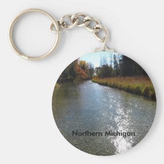 Northern Michigan Basic Round Button Keychain