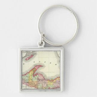 Northern Michigan Silver-Colored Square Keychain