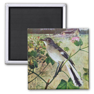 Northern Mockingbird 2 Inch Square Magnet