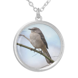 Northern Mockingbird Round Pendant Necklace