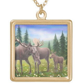Northern Moose Family Necklace