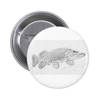 Northern pike pinback button