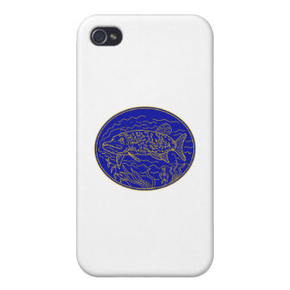 Northern Pike Fish Oval Mono Line Cases For iPhone 4